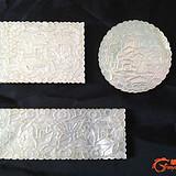第二组(3片)清嘉庆广东出口贝壳人物双面雕