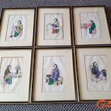 19世纪清代通草画一组六张(绣娘)