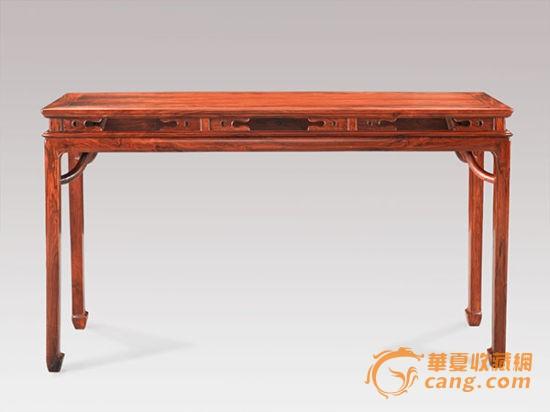 明式海南黄花梨束腰开光霸王枨条桌