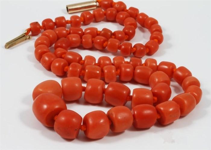 收藏级别-天然筒珠老红珊瑚项链