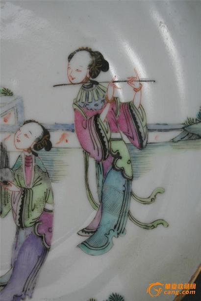 粉彩仕女人物束腰盘