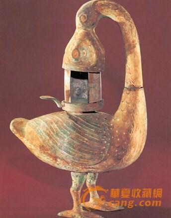 西汉海昏侯墓出土环保青铜雁鱼灯 可防烟气污染