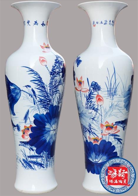 手绘陶瓷大花瓶图片