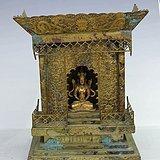 铜鎏金佛龛带一个长寿佛  精美 錾刻工艺