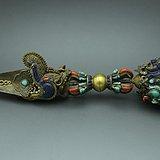 函件银鎏金普巴金刚杵镶嵌路松石青金石红珊瑚等多种宝石