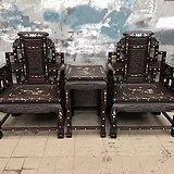 黑酸枝螺钿镶嵌太师椅三件套