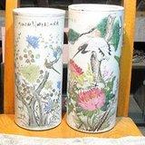 两只不同风格的花鸟帽筒