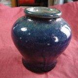 清中期霁蓝釉罐