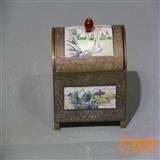 民国铜胎细工画珐琅升官盒(全品)