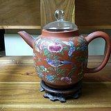 清晚期紫砂加广彩大茶壶