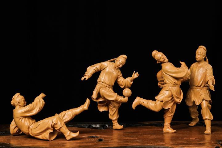 浙博的这个木雕展有场大唐盛世的足球赛