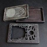 连体同质镂空雕盒砚台
