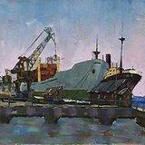 杜泳樵《港》水粉 17x23cm 1991年