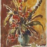 梁锡鸿《瓶花》水彩  18x13cm   1959年