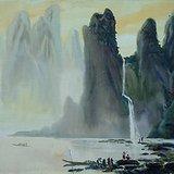 娄中国《飞泉流涧》水彩39x53.5cm
