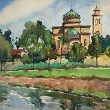 宋步云《有教堂的风景》水彩27x39.5cm