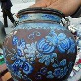 清中期青花提梁紫砂壶
