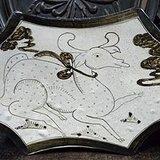 宋磁州窑白釉褐花鹿纹八角瓷枕