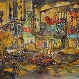 王云鹤《上海之夜》水彩55x73.5cm 2002年