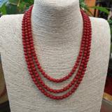 老沙丁红珊瑚项链 3层圆珠