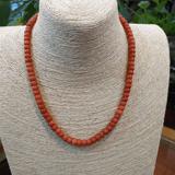 老沙丁珊瑚项链 桔色桶珠