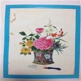 19世纪清代通草画-花篮1