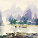 娄中国《漓江即景》水彩 39  215 53cm