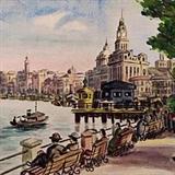 民国画家董盛昌《湖畔闲情》24.5乘33.5cm 1933年