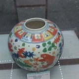 嘉靖五彩鱼藻纹大罐